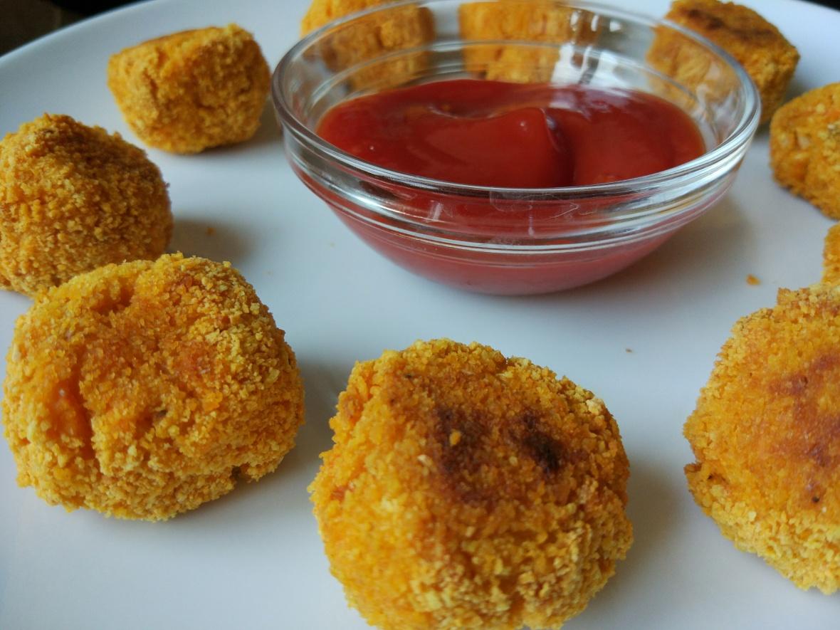 baked sweet potato and cauliflower balls