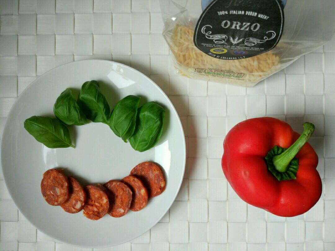 orzo red pepper chorizo basil