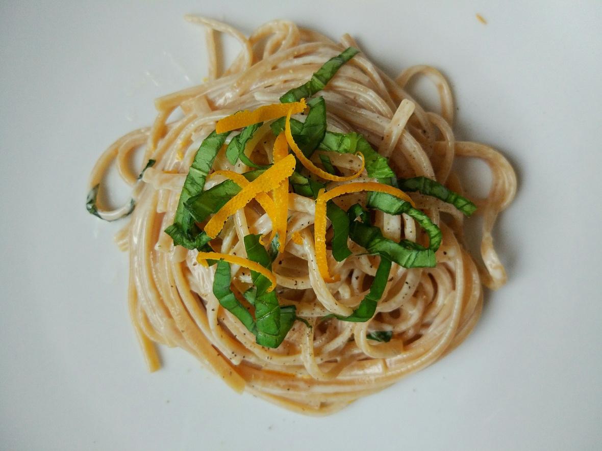 orange mascarpone and basil pasta